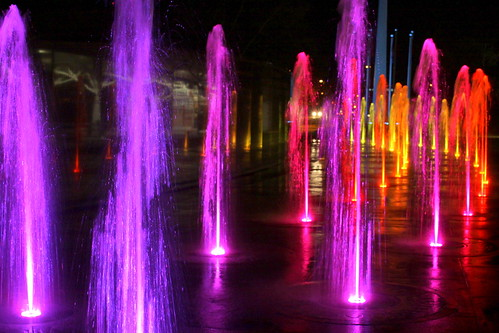 Bicentennial Mall Fountains at night