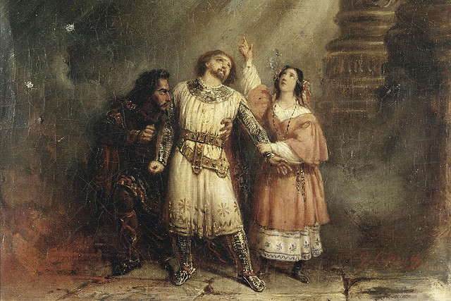 Nicolas Levasseur as Bertram, Adolphe Nourrit as Robert, and Julie Dorus-Gras as Alice in the Act V trio of Giacomo Meyerbeer's opera Robert le diable by François-Gabriel Lépaulle