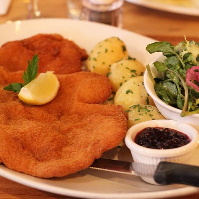 Wiener #schnitzel, new potatoes, preiselbeeren #austrian #les #nyc