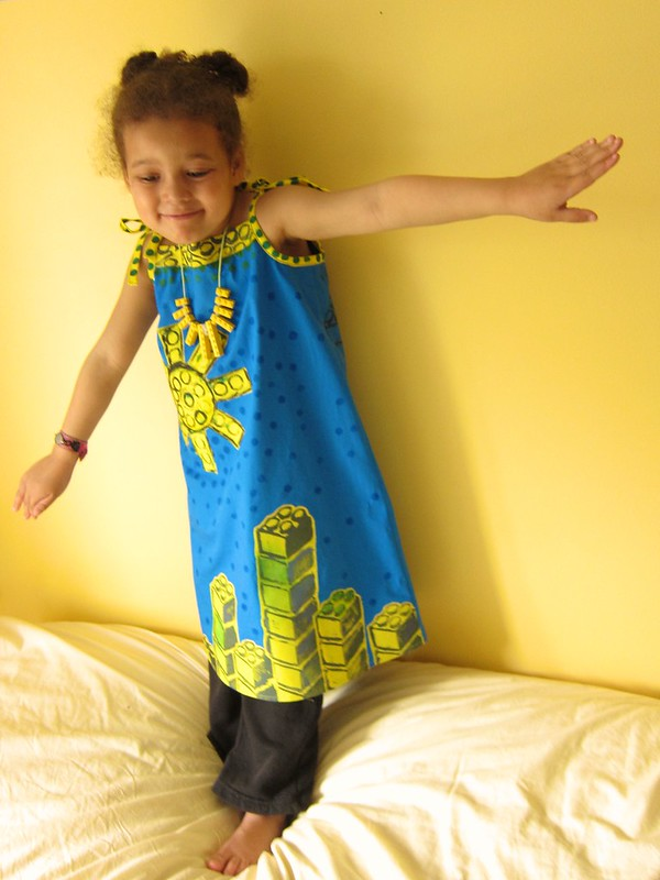 Block-Printed Lego Cityscapes Dress (Oliver +  S Popover Sundress)