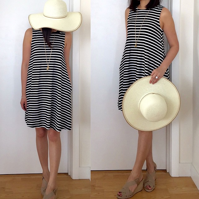 Loving this @loft striped swing #dress (I took size XSP) and it has pockets! # Floppy straw # hat from @forever21. // Sign up once at www.LIKEtoKNOW.it and LIKE this photo to receive an email with product details. @liketoknow.it Or en