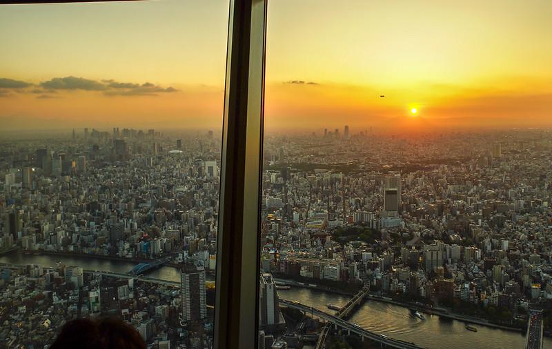 Sunset, Tokyo, Zeppelin and Fuji airship river Japan