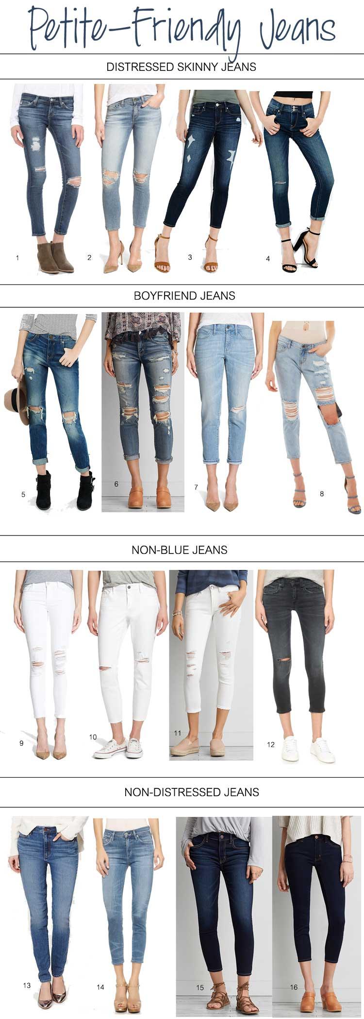 petite friendly jeans - distressed, skinny, boyfriend