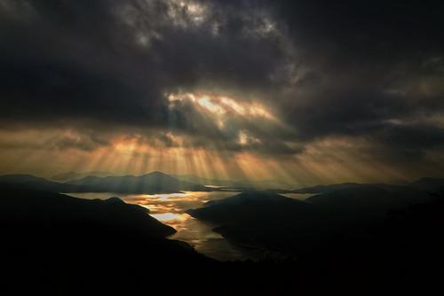 china travel light sunset orange cloud sunlight mountain lake black hongkong nikon cloudy dusk hiking d610