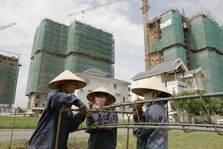 women working at a construction site in Vietnam