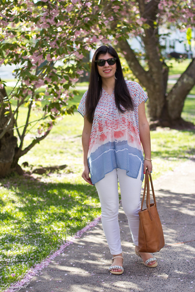watercolor print tunic, white jeans, espadrilles.jpg