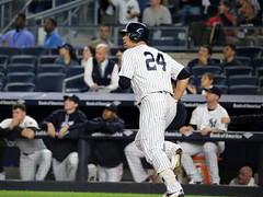 Yankees DH Gary Sanchez watches his two-run homer in the first inning.