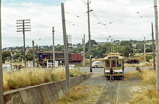 State Electricity Commission of Victoria single truck tram No 21 and Victoria Railways Rail Motor No 82 and trailer at North Bendigo, Victoria, Australia.
