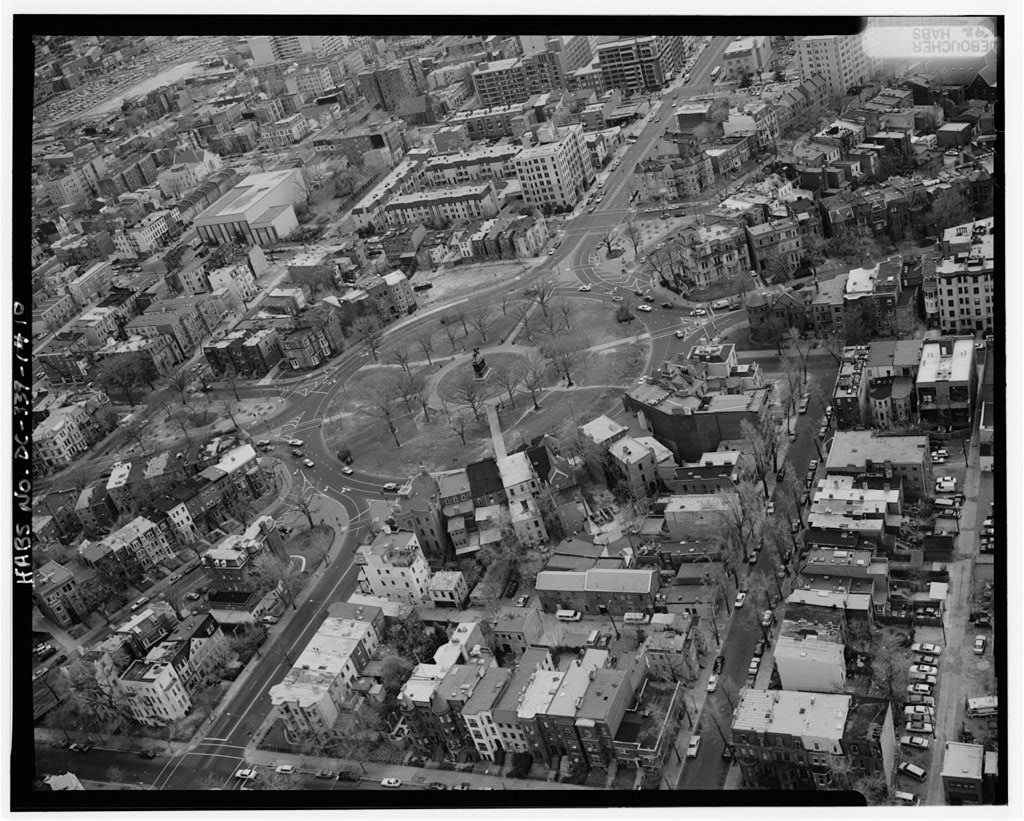 AERIAL VIEW OF LOGAN CIRCLE, LOOKING SOUTHEAST - Logan Circle, Vermont Avenue, Rhode Island Avenue, & Thirteenth Street, Washington, District of Columbia, DC