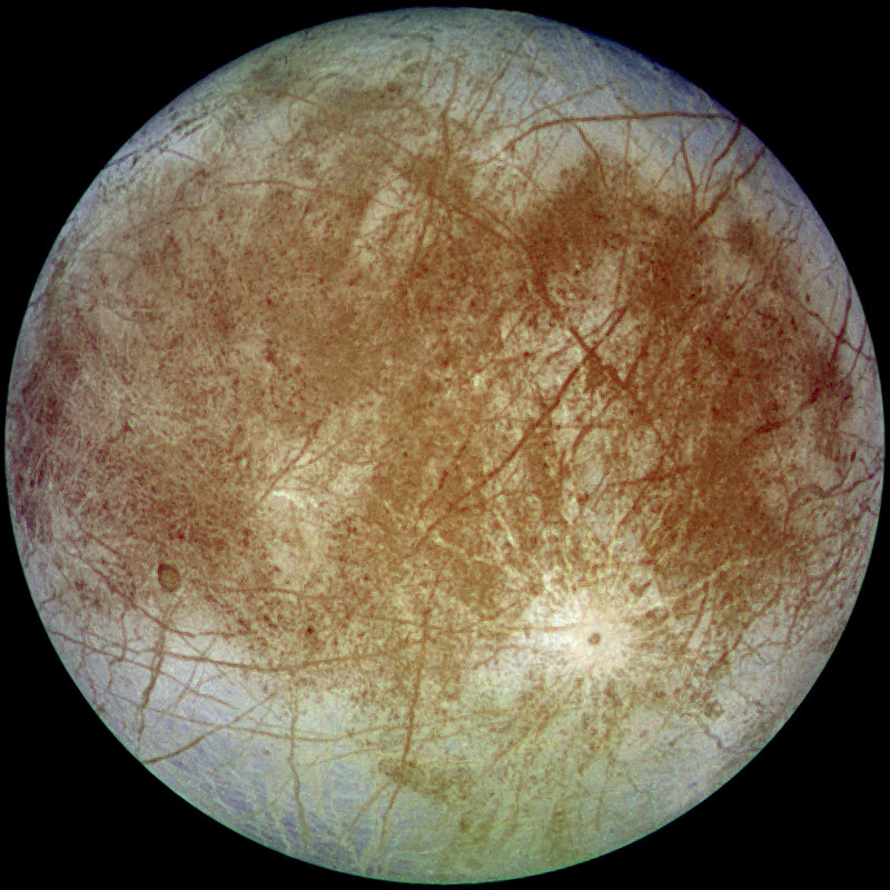 Europa, the moon of Jupiter, acquired by NASA's Galileo spacecraft