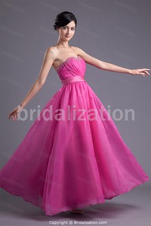 Fuchsia Ankle-Length Organza Sweetheart Hourglass Prom Gown