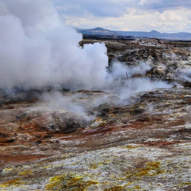 A bit of #steam at #Gunnuhver #mudpools #Iceland
