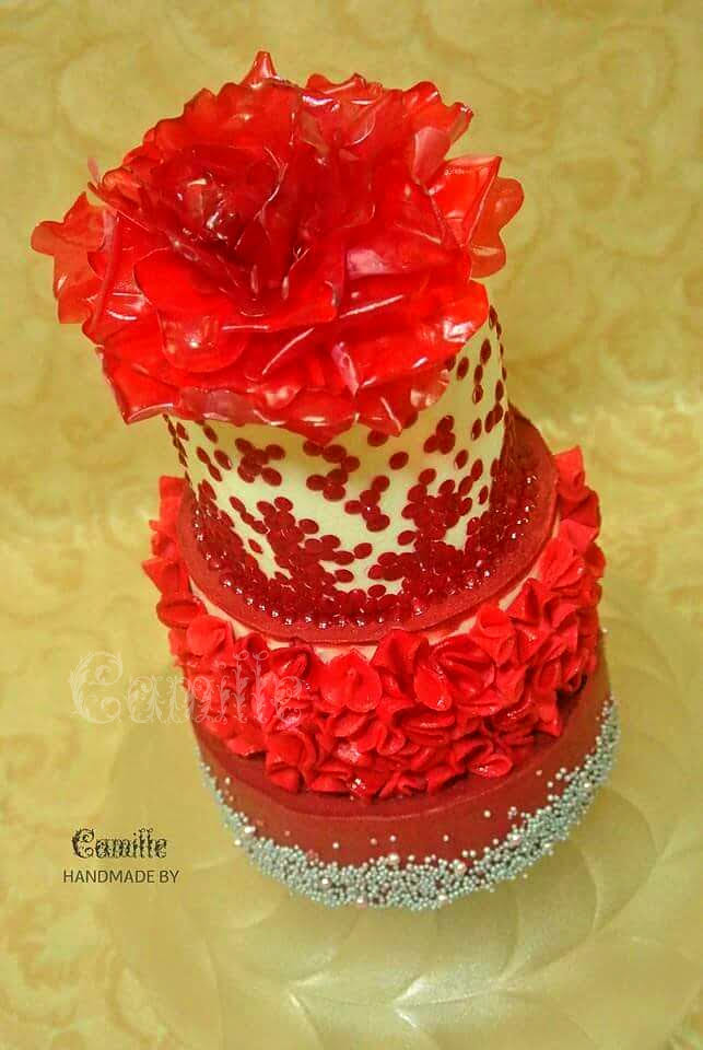 Rice Paper Flower Topper with Edible Sequins Ruffle Cake by Camille Evangelista