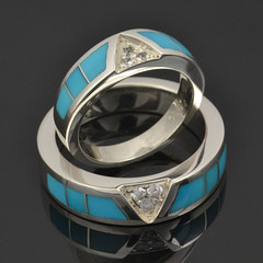 Turquoise wedding ring set with white sapphires 1