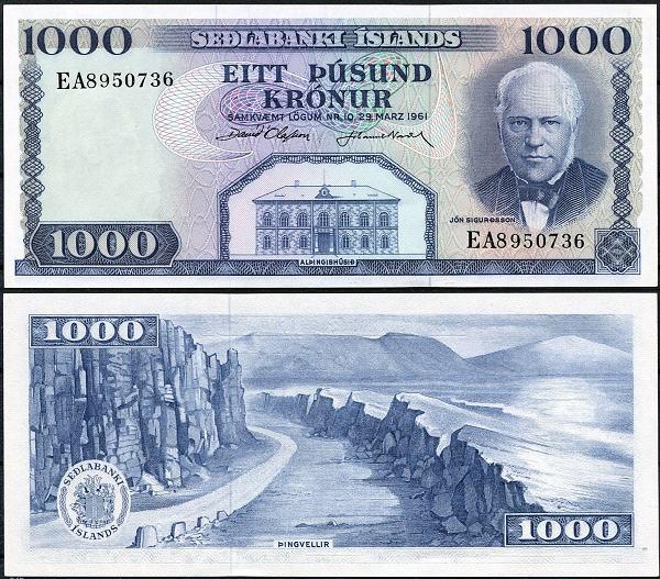 1000 Krónur Island 1961