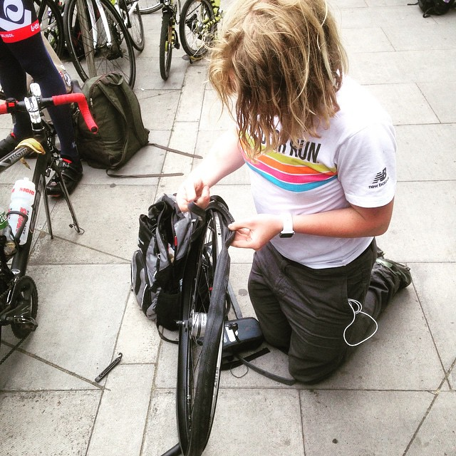 Graham gets a puncture. Just not his day. #LBBG #cycling #urban