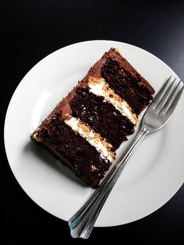Chocolate Bourbon S'mores Cake | cookingalamel.com