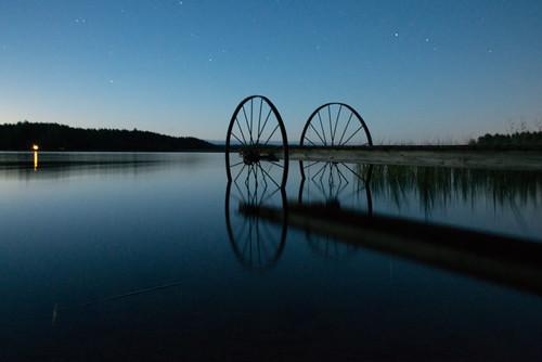 nikon autumn d800 summer lemi suomi night dark bridge weel lake water calm light long exposure landscape järvi blue