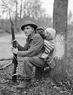 Private K.O. Earl of the Perth Regiment resting in the forest north of Arnhem, Netherlands, April 15, 1945 / Le soldat K. O. Earl, du régiment de Perth, se reposant dans la forêt au nord d'Arnhem, Pays-Bas, 15 avril 1945