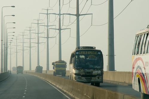 bridge bus lorry bangladesh jamuna