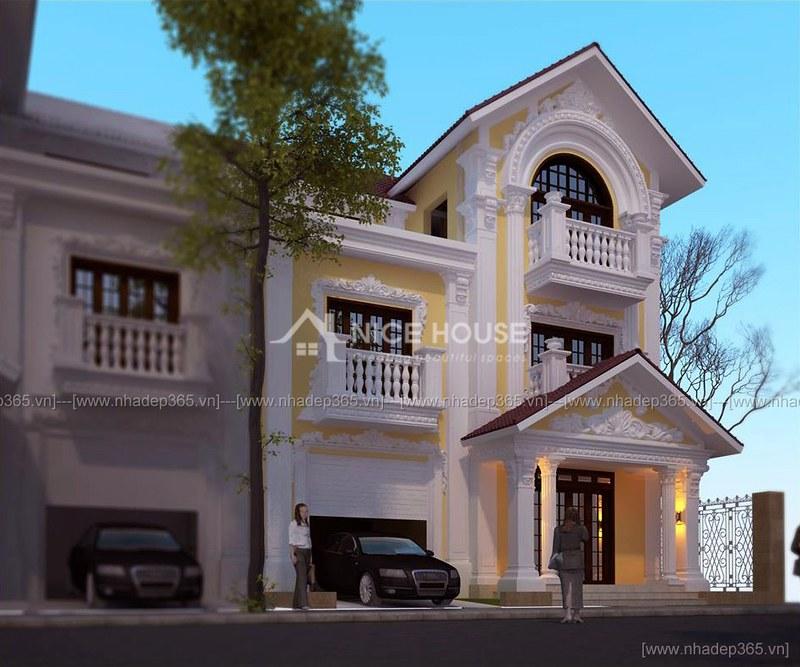 Thiết kế biệt thự 3 tầng 2 mặt tiền pháp cổ