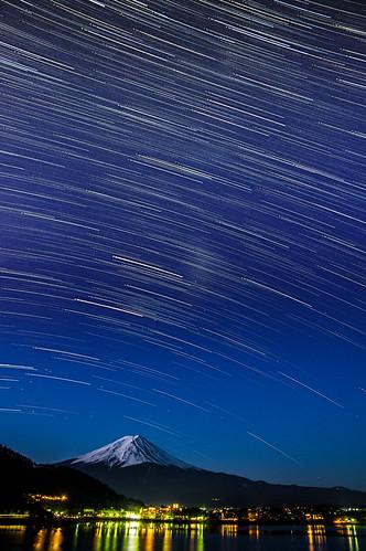 japan night landscape mountfuji 日本 kawaguchiko 河口湖 startrail lakekawaguchi 富士五湖 山梨県 星軌 fujifivelakes yamanashiprefecture