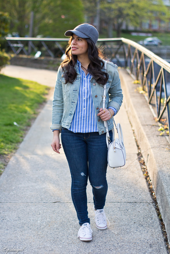 denim jacket, striped shirt, converse, ballcap.jpg