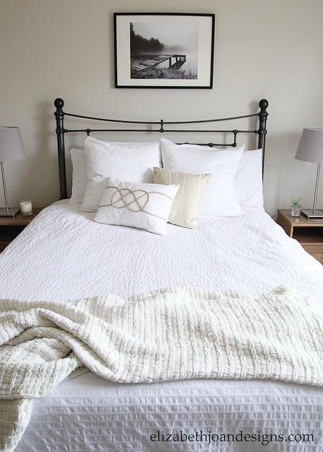 Metal Headboard Bed White Bedding