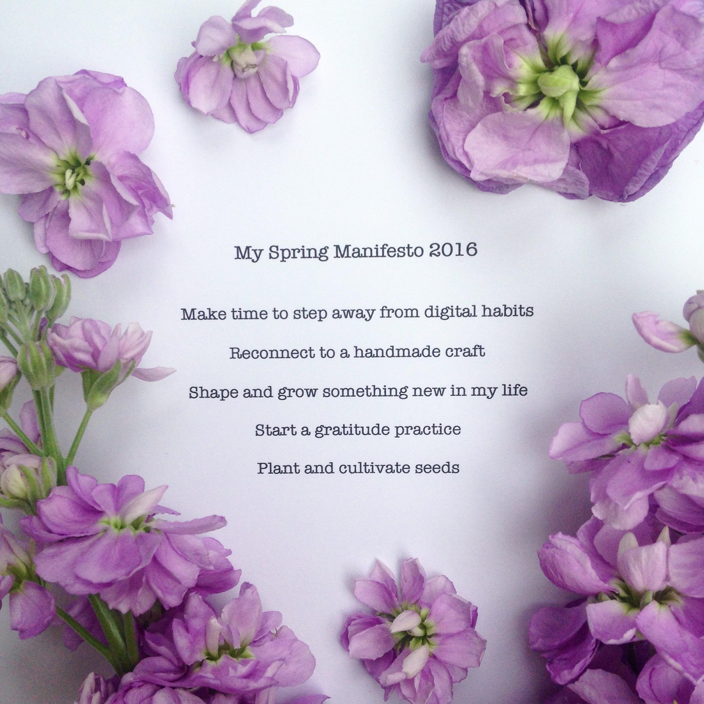 My Spring Manifesto