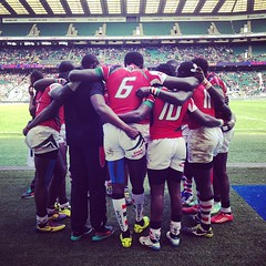 #kenya7s after their 38 - 7 winning match against #Samoa7s.  Kenya through to Bowl final. #rugbysevens #rugby7s #London7s @officialkru @kenya_7s