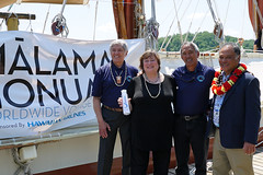 Under Secretary for Economic Growth, Energy, and the Environment Cathy Novelli poses for a photo with leaders of the Polynesian Voyaging Society during their visit to Washington, D.C., on May 24, 2016. [State Department photo/ Public Domain]