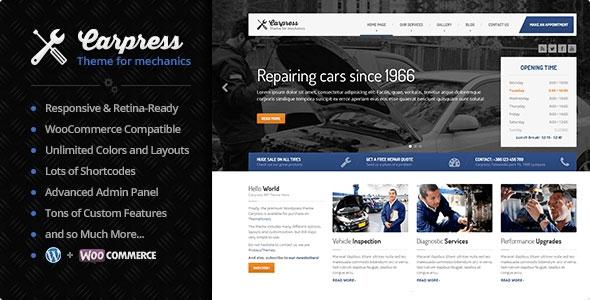 CarPress v1.11.5 - WordPress Theme For Mechanic Workshops