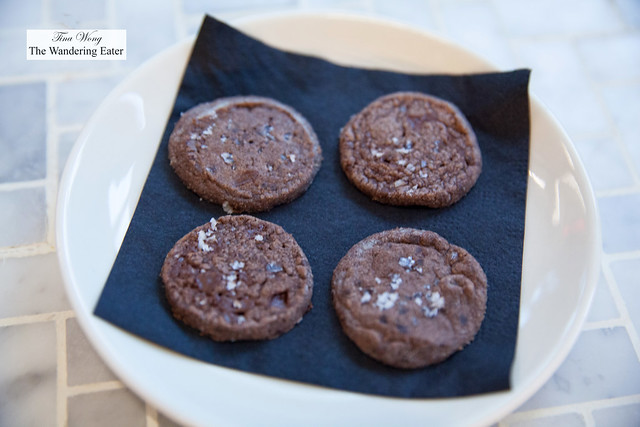 Chocolate shortbread cookies with fleur de sel