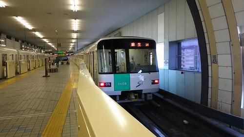 Sapporo Municipal Subway 5000series in Makomanai station, Sapporo, Hokkaido, Japan /May 5, 2016