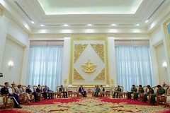 U.S. Secretary of State John Kerry, U.S. Ambassador to Myanmar Scot Marciel, Assistant Secretary of State for East Asian and Pacific Affairs Daniel Russel, and other delegation members sit with Myanmar Commander-in-Chief Min Aung Hliang and his aides on May 22, 2016, before a bilateral meeting at the Commander-in-Chief's Compound in Naypyitaw, Myanmar. [State Department photo/ Public Domain]