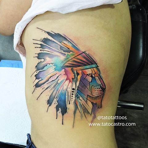 Lion Leon Penacho Nativetattoo Watercolortattoos