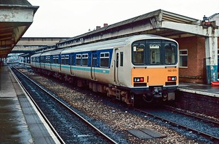 Prototype DMU set 150 001 at Derby. 02/03/85.