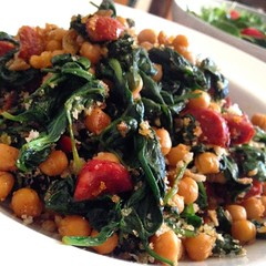 Chickpeas, chorizo and spinach. I live off this wh…