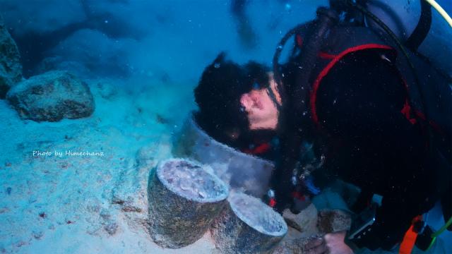 海底から湧き出る温泉に浸かるきょうちゃんw