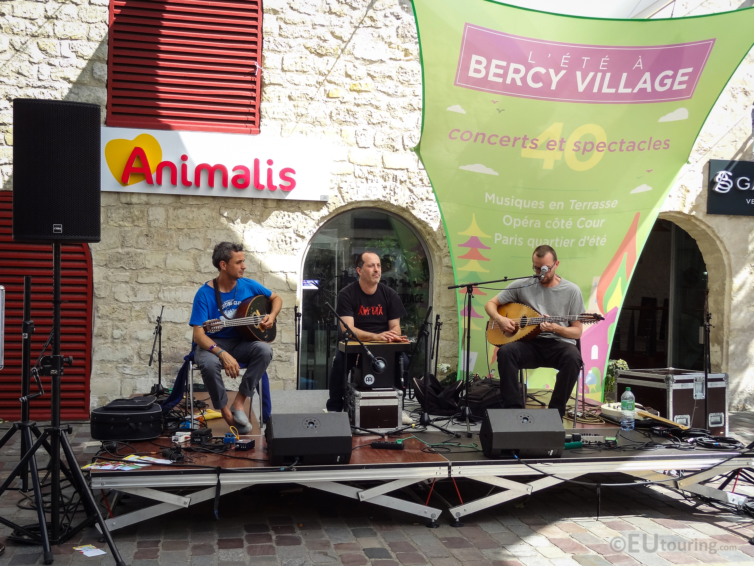 Band performing within Bercy Village