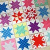 Polka dot madness. Working with #crystallakemqg quilty friend, Isis, to make a happy and cheerful charity quilt for breast cancer. More to come!  #starblocks #quilt