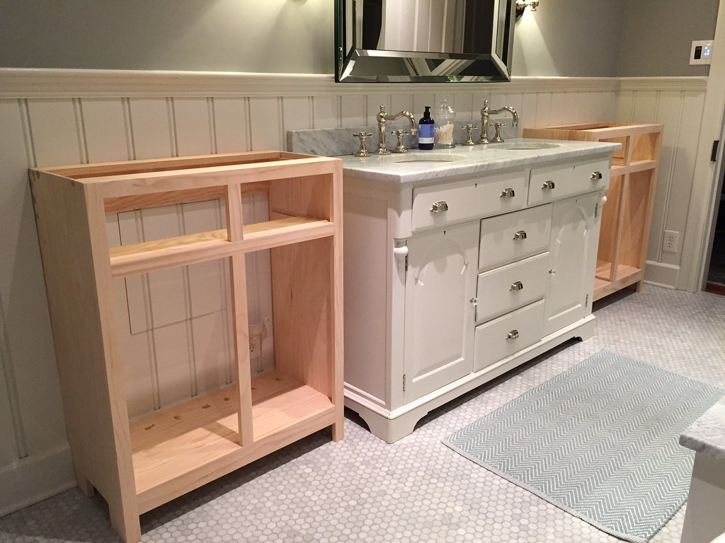 Interior Cabinet Bases building the base on custom bathroom cabinets old town home i still have a bit more to do like adding baseboard and maybe some beading embellishments but this is how it looks today