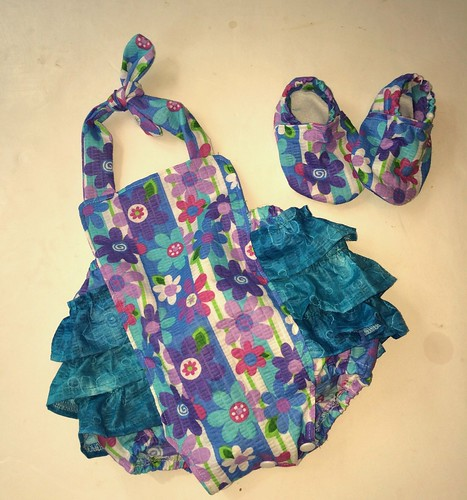 Ruffle Bum Romper 0-3 and 0-6 month shoes