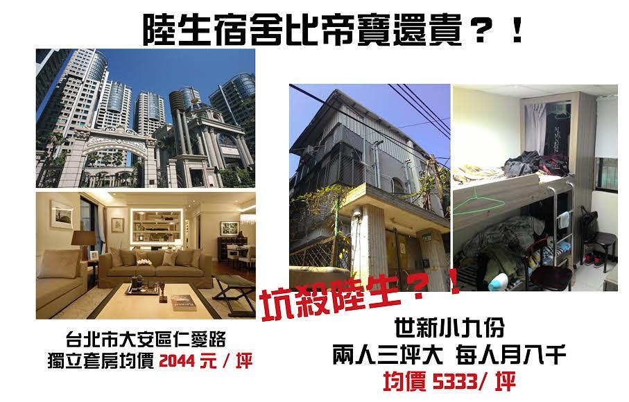 世新勞權小組日前揭露陸生宿舍租金過高問題。(圖片來源:世新勞權小組)