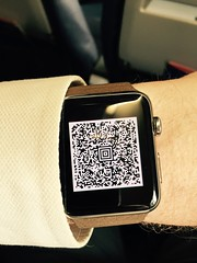 Nice. Just discovered that the Apple Watch supports Passbook. I was able to board my flight with just this...