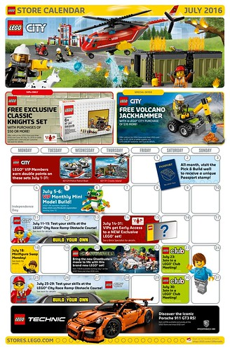 Calendar Lego June : Lego july store calendar promotions events the