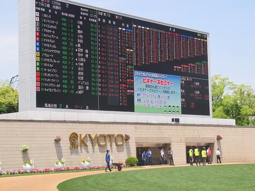 京都競馬場パドックの電光掲示板