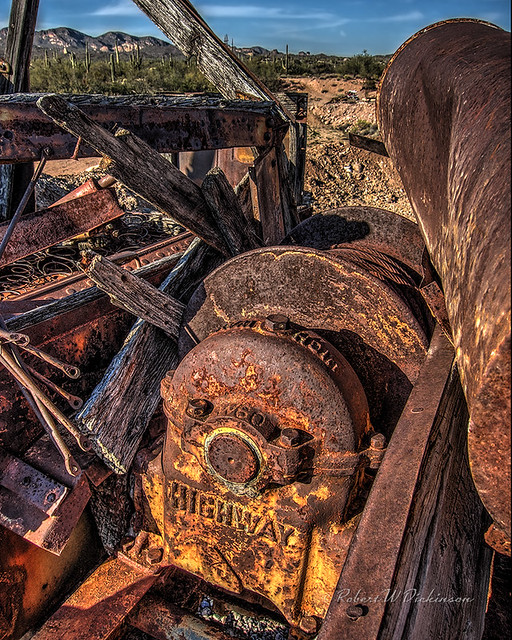 Rusty Winch at Goldfield Ghost Town in Apache Junction, Arizona in HDR