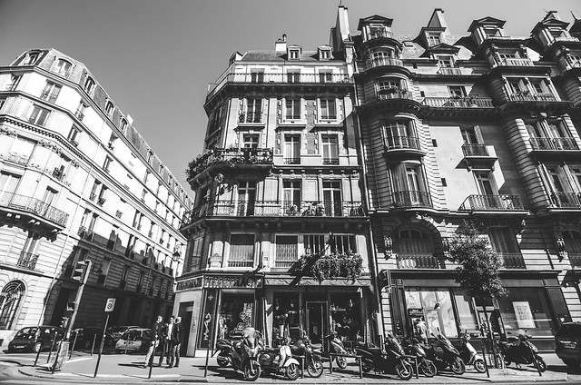 A sunny street scene in Paris, boulevards and bicycles.