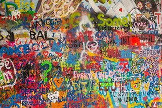 Image of Lennon Wall. colors spray messages leica m 240 summilux 50 czech europe cesko czechia prague praha prag praag praga mala strana lesser quarter summer city cityscape street grafitti john lennon wall travel tourism 布拉格 прага プラハ براغ 프라하